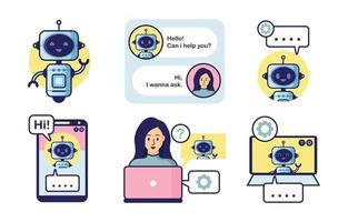 conjunto de coleta de serviço chatbot vetor