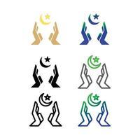 conjunto de ícones do símbolo islâmico, ícone do ramadã vetor