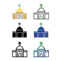 pacote de ícones da mesquita vetor
