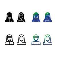 pacote de ícones de casal muçulmano vetor