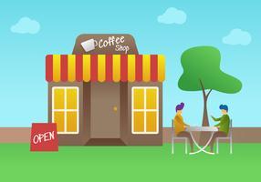 Vetores de reunião de loja de café pendentes