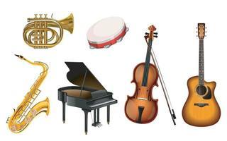 ilustração do conjunto de instrumentos musicais em um fundo branco. vetor eps 10