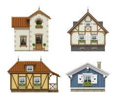 conjunto de fachadas clássicas de casas vintage isoladas vetor