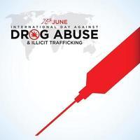 26 de junho dia internacional contra o abuso de drogas caligrafia letras feitas à mão cartão preto vermelho saudação fundo - vetor