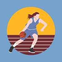 Vetor de jogador de basquete feminino