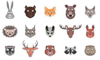 conjunto de cabeças de animais da floresta. vetor