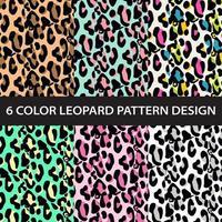 vetor de coleção de padrão de impressão de leopardo de seis cores