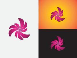 modelo de monograma de ícone de vetor de logotipo em forma de flor abstrata