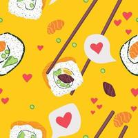 desenho plano sem costura padrão comida japonesa sushi vetor
