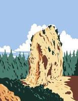pão de açúcar localizado na ilha mackinac dentro do parque nacional mackinac em michigan, que existiu de 1875 a 1895 arte de pôster wpa vetor