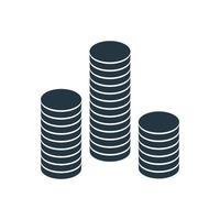 uma pilha de moedas de ouro redondas. ilustração vetorial vetor