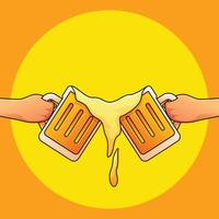 Rapazes brindando cerveja vetor