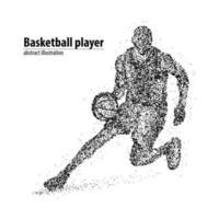 jogador de basquete abstrato dos círculos pretos. ilustração vetorial. vetor