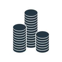 uma pilha de moedas de ouro redondas. ilustração vetorial. vetor
