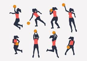 vetor de silhueta de jogador de basquete feminino