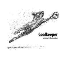 goleiro de futebol abstrato pulando em círculos pretos. ilustração vetorial. vetor
