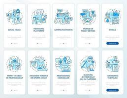 tela de página de aplicativo móvel de integração de fontes de cyberbullying com o conjunto de conceitos. informando incidências passo a passo 5 etapas instruções gráficas. modelo de vetor ui, ux, gui com ilustrações coloridas lineares
