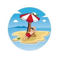 cartoon de oldman relaxando no formato de eps de vetor de ilustração de design de praia, adequado para suas necessidades de design, logotipo, ilustração, animação, etc.