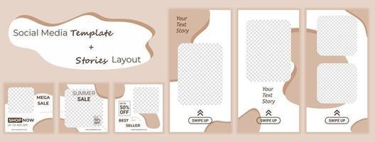 conjunto de design de modelo de banners quadrados editáveis para histórias de mídia social de venda de moda. fundo de forma de cor amarela e branca. promoção de grande venda. venda de desconto de publicidade de vetor. vetor