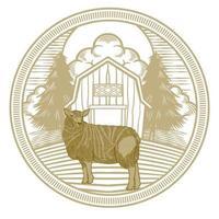 mão desenhada de fazenda de ovelhas ou cabras, isolada no fundo branco. vetor