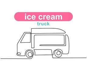 única linha contínua de food truck de sorvetes. caminhão de comida de sorvete em um estilo de linha isolado no fundo branco. vetor