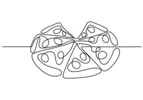 única linha contínua de pizza. pizza fast food em um estilo de linha isolado no fundo branco. vetor