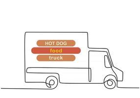 única linha contínua de caminhão de comida hotdog. caminhão de comida de cachorro-quente em um estilo de linha isolado no fundo branco. vetor
