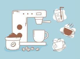 máquina de café expresso grãos chá e xícara linha e preenchimento vetor