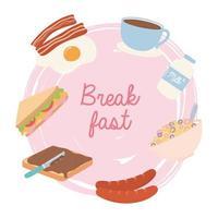 comida de café da manhã ovo frito fresco bacon leite xícara de café salsicha sanduíche vetor