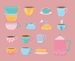 bule de chá e café xícaras decorativas para bebidas quentes vetor