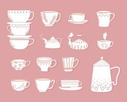 bule de chá e café xícaras decorativas para bebidas quentes, estilo de linha vetor