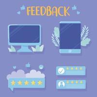 aplicativos de avaliação e feedback de smartphone para computador vetor