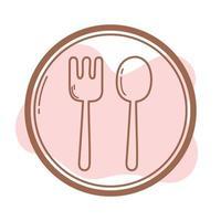 restaurante garfo e colher assina ícone linha e preencha vetor