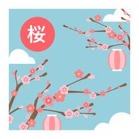 Vetor de árvore de flor plana de cereja Blosom