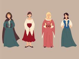 conjunto de mulheres camponesas medievais, era medieval vetor
