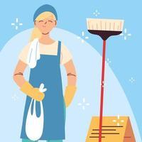 pessoal de higiene, mulher com equipamento de limpeza vetor