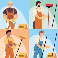 conjunto de trabalhadores de limpeza, pessoal de limpeza profissional, trabalhador de limpeza doméstica e equipamentos de limpeza vetor