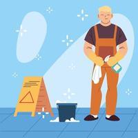pessoal de higiene, homem com equipamento de limpeza vetor