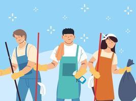 equipe de higiene trabalha em equipe, zeladores serviço de limpeza vetor