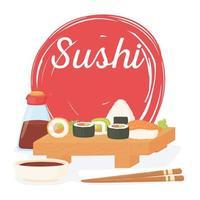pôster da culinária japonesa tradicional na hora do sushi, molho de rolos vetor