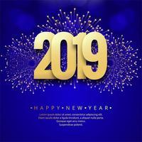 Feliz ano novo 2019 cartão celebração fundo colorido vetor