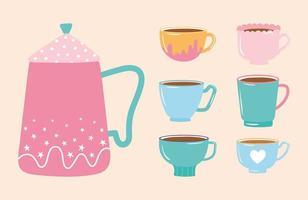 chaleira para chá e café e várias xícaras vetor