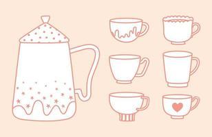 chaleira para chá e café e coleção várias xícaras, estilo de linha vetor