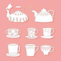 bules de chá e café, xícaras, chaleiras diferentes, estilo de linha vetor