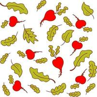 padrão vetorial em cores vivas de verão, vegetais, beterraba e folhas de alface vetor