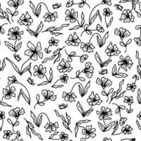 padrão sem emenda de verão de um prado de flores com borboletas vetor