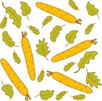 padrão de vetor em delicadas cores de verão, vegetais, cenoura e salada de folhas de alface