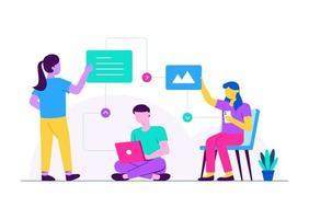 colaboração de aula online vetor