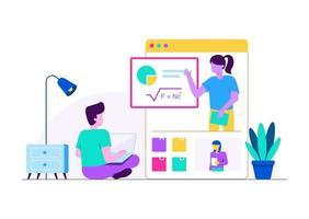 aula online de casa vetor