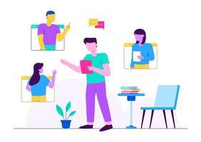 discussão de aula online vetor